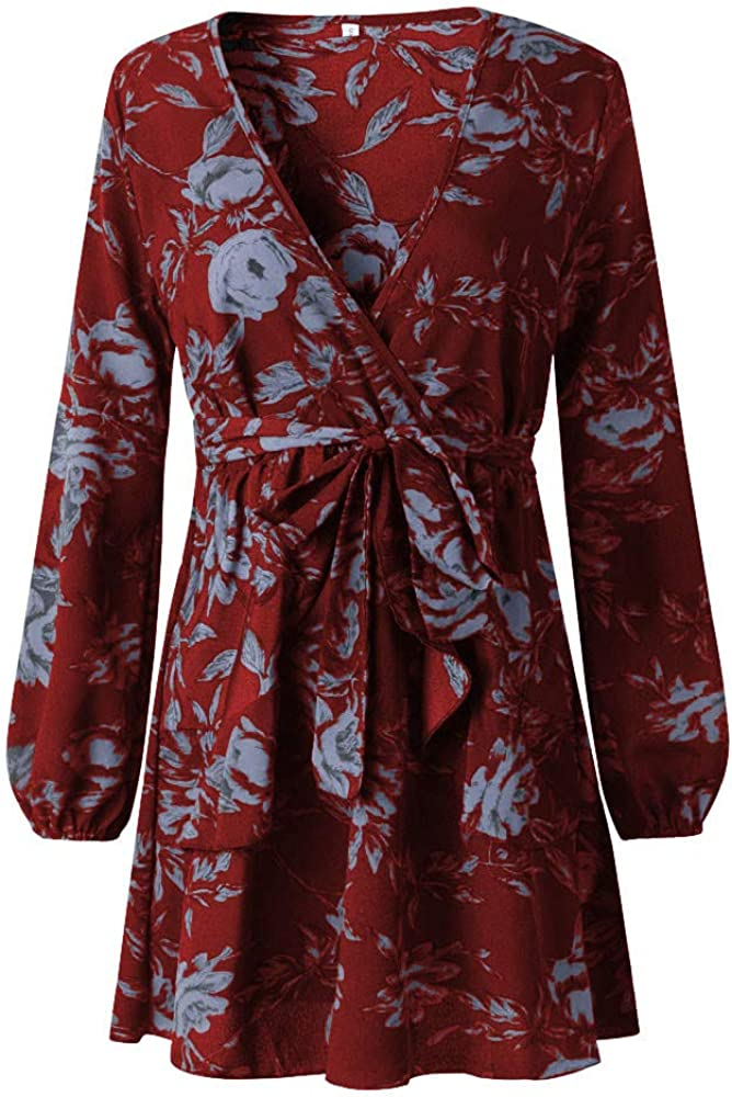 TTlove/_Women Long Sleeve Dresses Halter V-Neck Casual Ladies Mini Dress,Womens Elegant Floral Lace Embroidery Flared A-Line Swing Party Cocktail Dresses