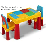 Home Canvas 2-IN-1 Unisex Kids Building Block & Study Lego Table & Chair Set, Multicolor Table and Chair for Kids of 3 Years and Above