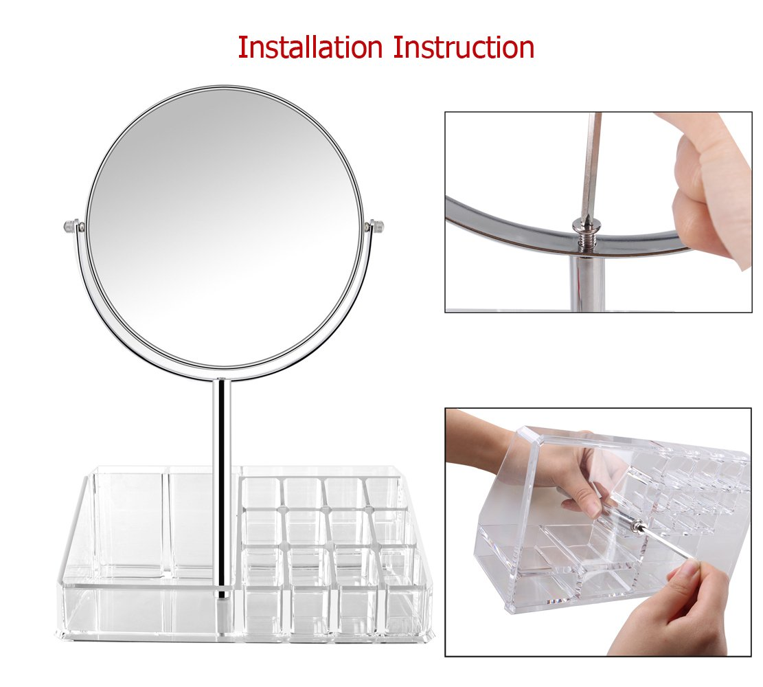 7 Inch Vanity Makeup Mirror with Makeup Organizer -1x/3X Magnifying Double-Sided Makeup Mirror-Polished Chrome