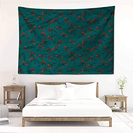 Amazon.com: Sunnyhome Bedroom Tapestry,Teal Red Berry ...