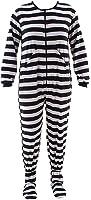Black Panda Striped Footed Pajamas for Women