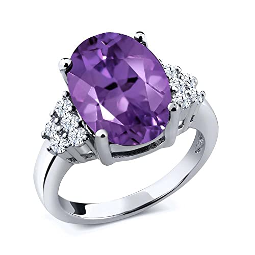 Gem Stone King Sterling Silver Purple Amethyst White Topaz Gemstone Women s Ring 4.90 cttw 14x10mm Oval Available 5,6,7,8,9