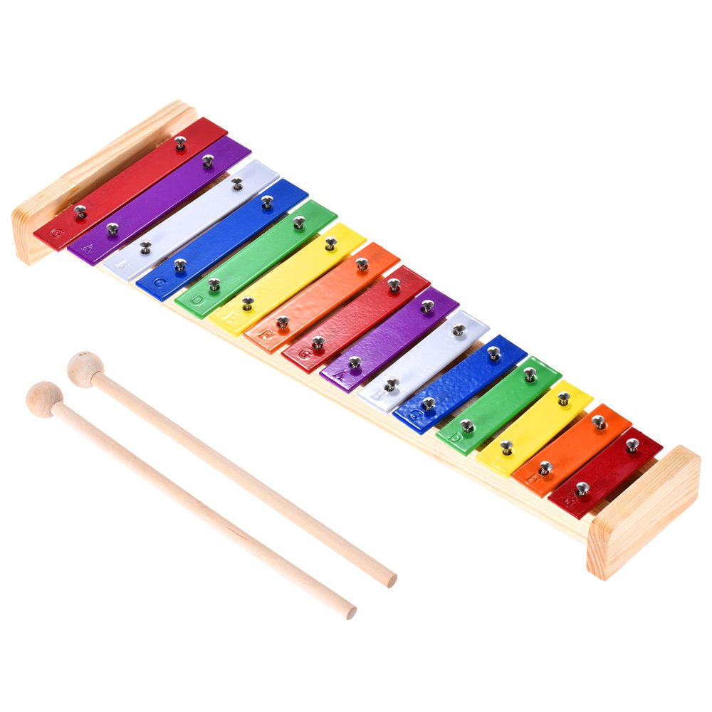 ammoon Colorful Glockenspiel Xylophone Wooden & Aluminum Percussion Musical Instrument Educational Toy 15 Tones with 2 Mallets for Baby Kids Children