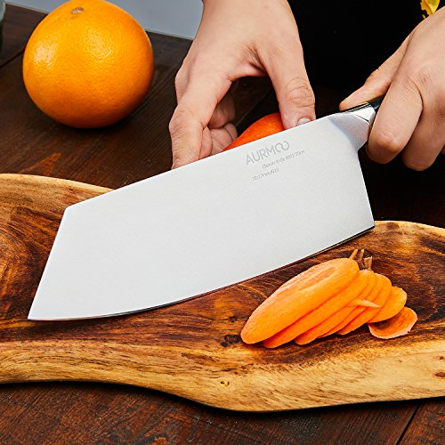 8 Inch Cleaver Knife, Chinese Butcher Knife, Professional Butcher Cleaver High-Carbon Stainless Steel with Ergonomic Handle for Meat & Vegetables by AURMOO (Image #1)