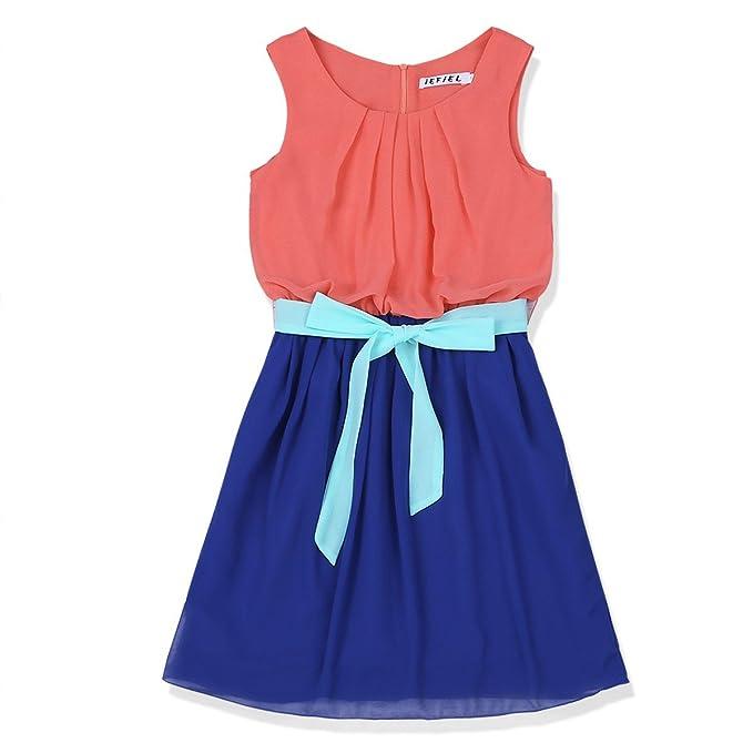 Freebily Vestido Infantil sin Mangas para Niña (4-14 años) Vestido Casual de