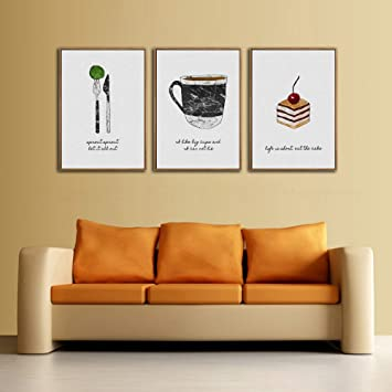 Amazon.com: Unframed 3 Panels Nordic Modern Coffee Cup Cake Western ...