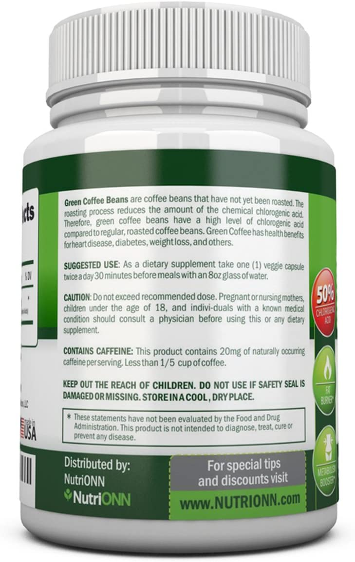 Amazon Com Green Coffee Bean Extract With Gca 800mg 90 Vegetarian Capsules Best Value For Price Highest
