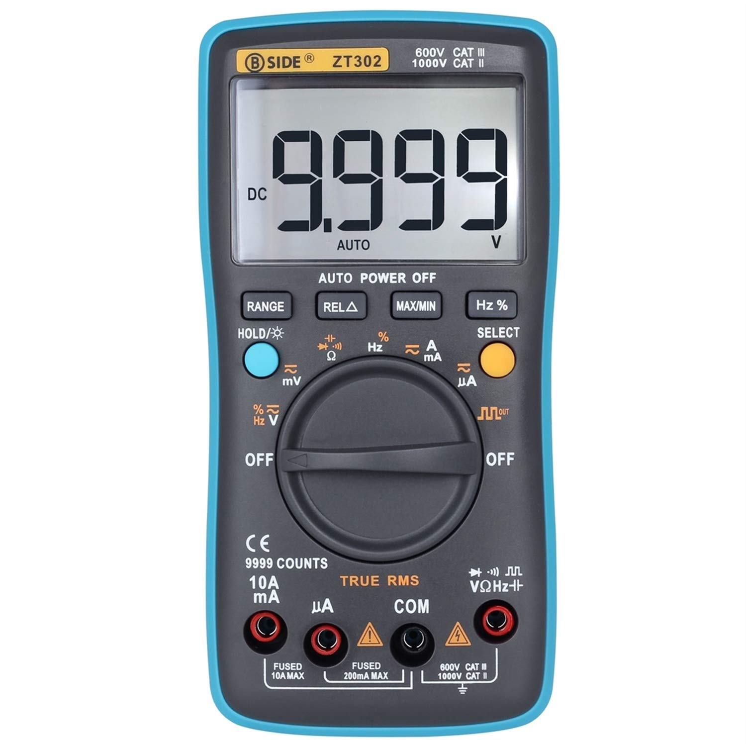 BSIDE ZT302 Digital Multimeter DMM Auto-Ranging True RMS 9999 Counts Voltmeter Capacitance Frequency Resistance Meter Testers