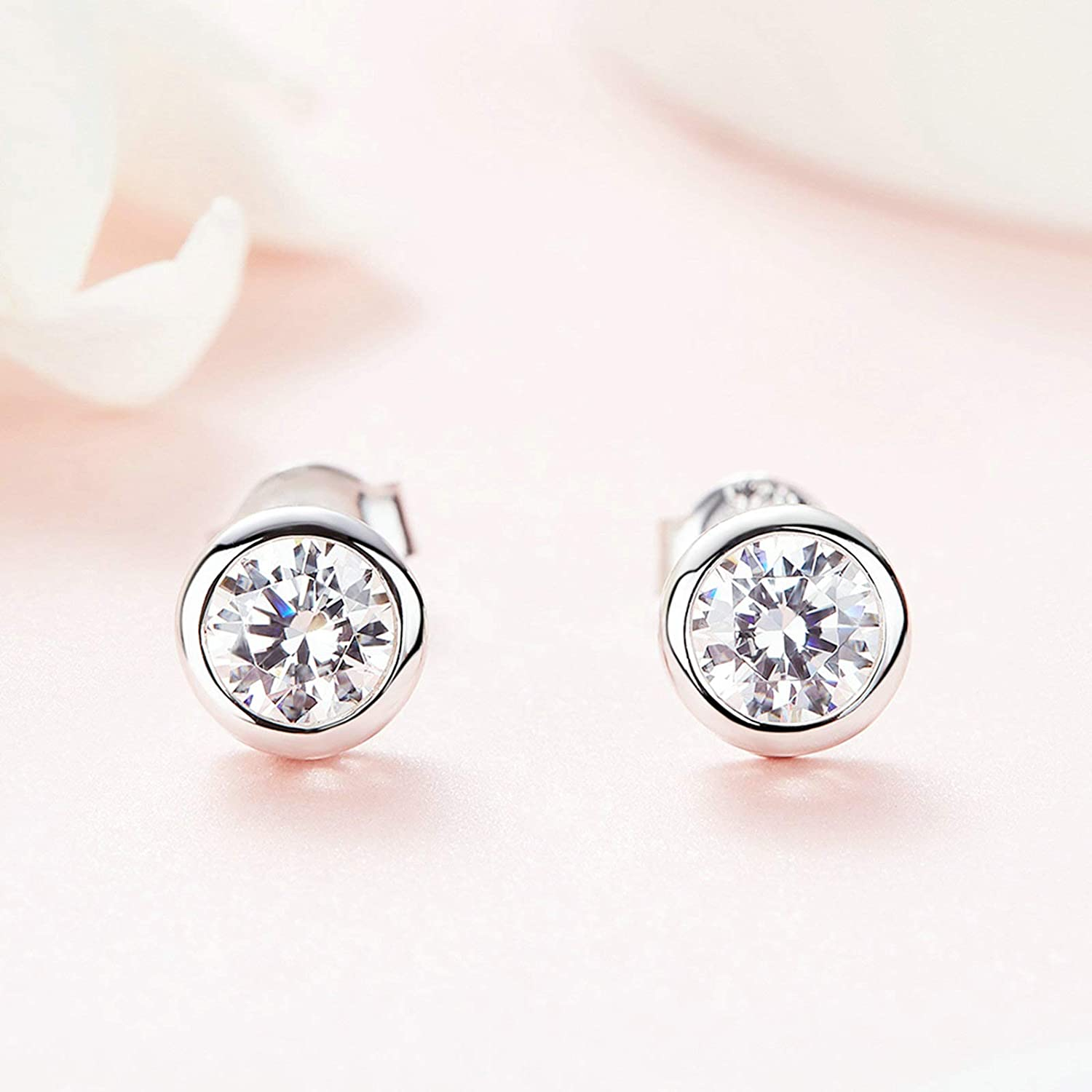 Adisaer Women Silver Plated Base Stud Earrings Silver Round Shape Cubic Zirconia Hypoallergenic Jewelry For Girl