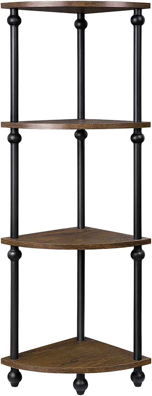 Vintage Corner Table Shelf, 4-Tier Corner Bookcase, Plant Stand Storage Rack for Living Room, Home Office, Dark Walnut