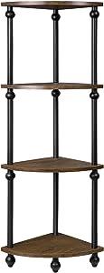 Vintage Corner Table Shelf, 4-Tier Corner Bookcase, Plant Stand Storage Rack for Living Room, Home Office, Dark Walnut