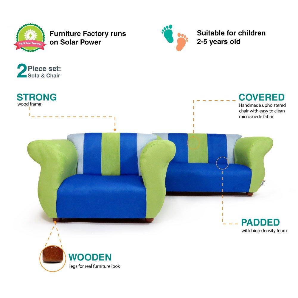 Amazon.com: keet de sofá y silla Fancy Kid s Set, Azul ...