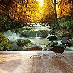 wall26 Golden leaves and forest waterfall serene - Landscape - Wall Mural, Removable Sticker, Home Decor - 100x144 inches