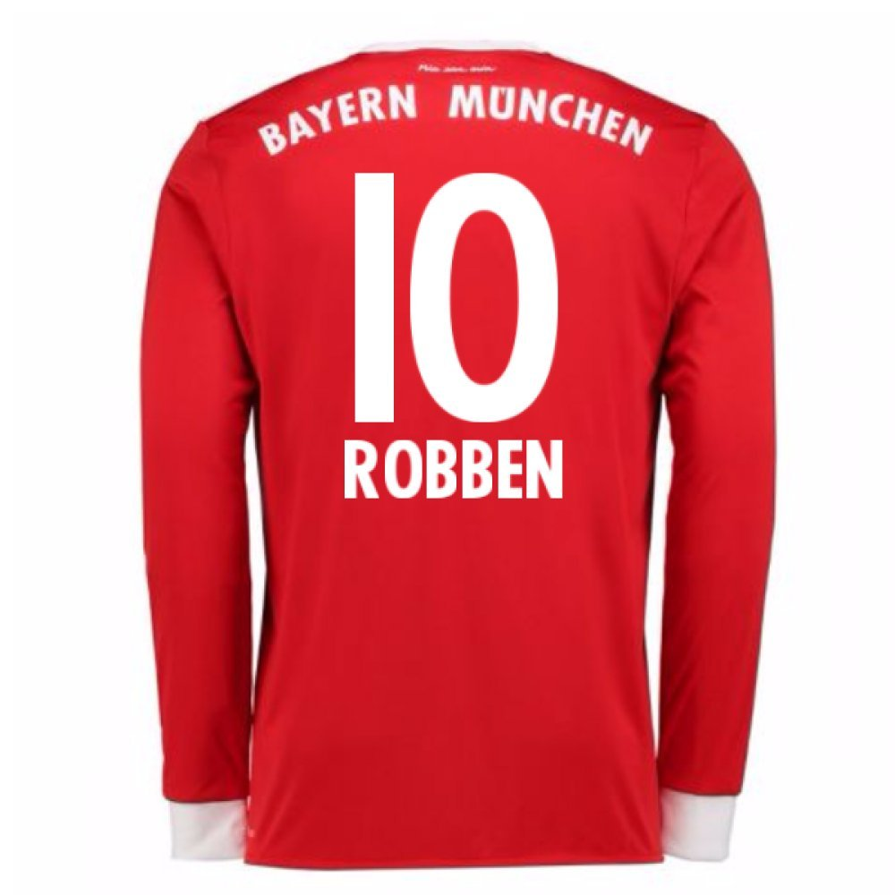 2017-18 Bayern Munich Home Long Sleeve Shirt (Kids) (Robben 10) B0784BHZTNRed Small Boys 26-28\
