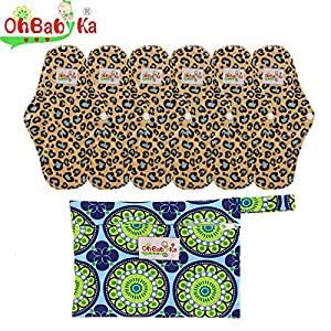 OHBABYKA Bamboo Reusable Sanitary Napkins Pads 5 Pcs, A Wet/Dry Bag