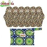 OHBABYKA Bamboo Reusable Sanitary Napkins Pads 6 Pcs, A Wet/Dry Bag (M)