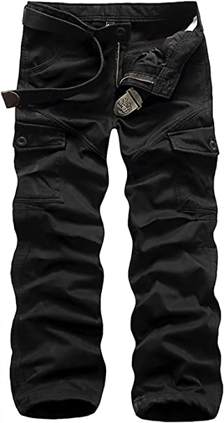 Men Fleece Cargo Thicken Straight Leg Oversize Solid Color Pants
