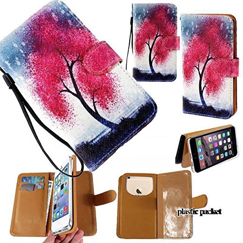 Universal PU Leather Purse/Clutch/Pouch/Wallet Fits Apple Samsung LG Motorola etc. Women's Cute Wristlet Strap Flip Case Dream Tree Red/Pink - Large. Fits The Models Below: ()
