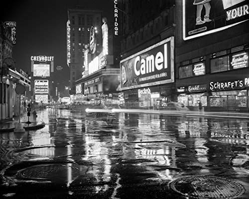 Posterazzi Poster Print Collection 1950s Wet Rainy Streets of Times Square At Night Neon Signs Advertising New York City Ny USA Vintage, - 50s Signs Neon