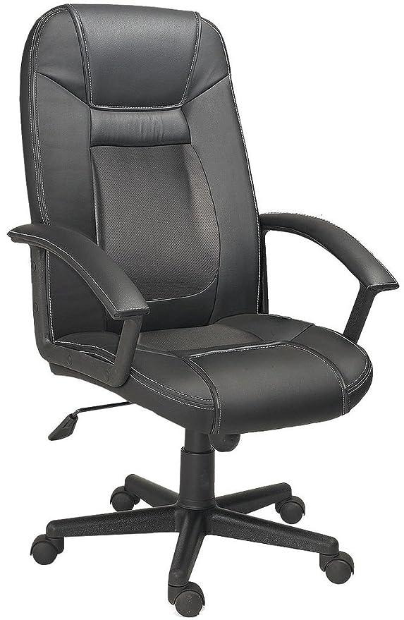 Adec - Dream, Sillón de oficina o despacho, silla giratoria de escritorio con brazos acabado en símil piel color Negro, medidas: 60 cm (ancho) x ...