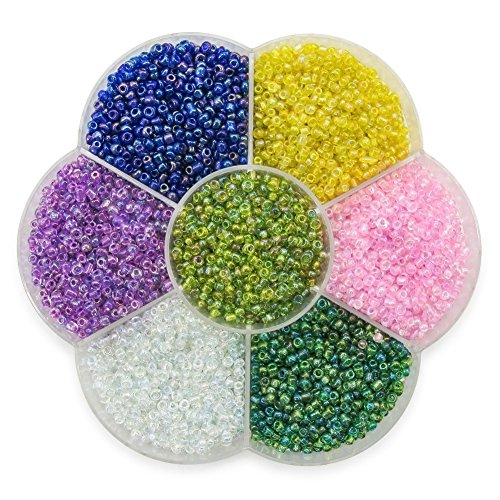 TOAOB Multi Color Wholesale Rainbow 2mm Seed Beads Kit Glass for Making findings Pack of 7000pcs -