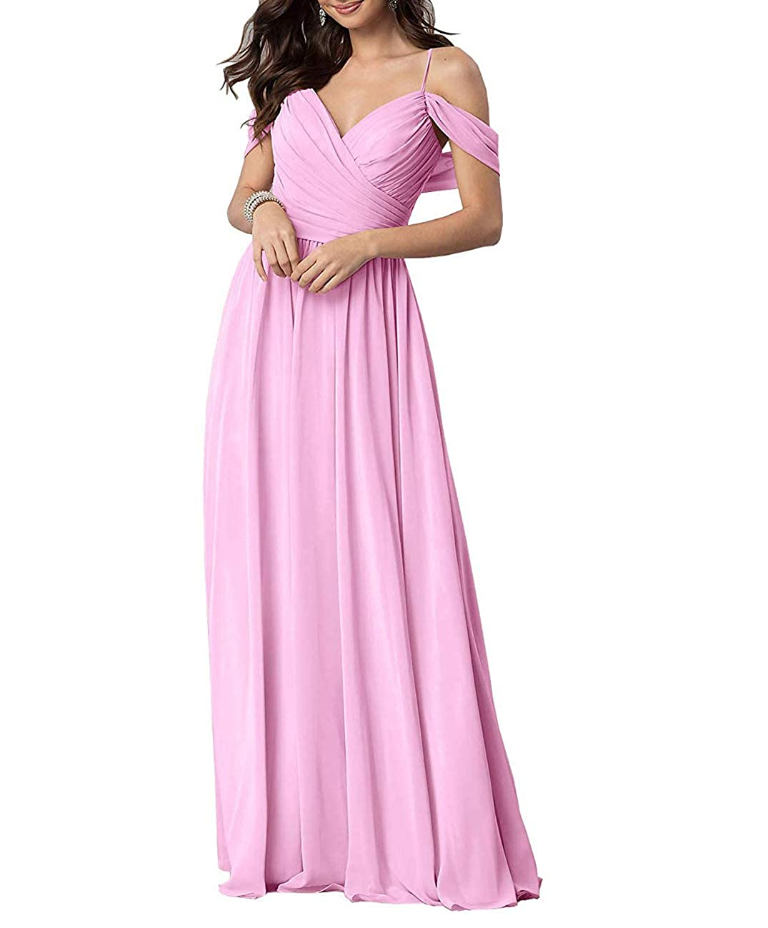 Pink Long Prom Gown and Evening Dresses for Women OffTheShoulder Bridesmaid Dresses
