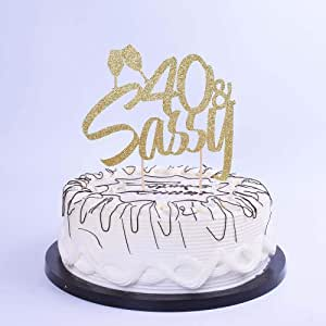 YUINYO 40 Cake Topper-40 & Sassy Cake Topper for 50th Birthday Wedding Anniversary Party Decorations (Gold)