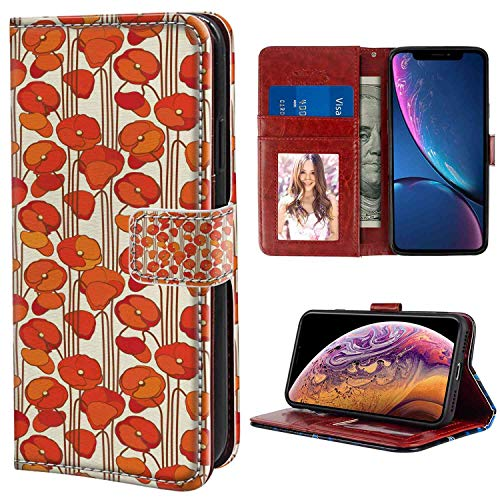 Wallet Phone Case Fit iPhone Xs Max (6.5 Version) Floral Art Nouveau Style Poppy Flowers Retro Spring Summer Garden Foliage Petals Orange and Ivory Print for Girls Case