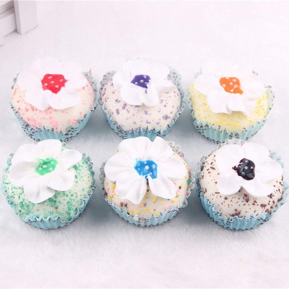 HT 6PCS Flower Shape Cake Simulation Food Artificial Fake Food Model Play Food Kids Toy Home Kitchen Party Decoration Store Market Display Photography Props, Color Random (Flower Shape Cake)