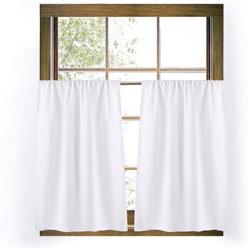 Valea Home White Burlap Look Soft Tier Curtains for Kitchen Rustic Rod Pocket Curtains for Short Window 36 inch Linen Textured Cafe Curtains
