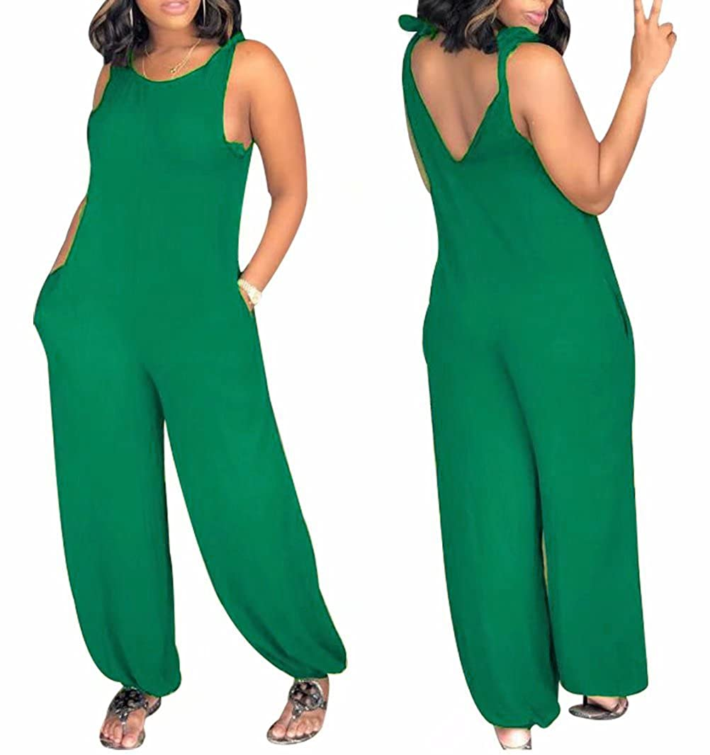 bae5ed28210 Amazon.com  JINTING Spaghetti Strap Sleeveless Solid Romper Jumpsuit for Women  Wide Leg Pant Casual Loose One Piece Jumpsuit with Pocket  Clothing