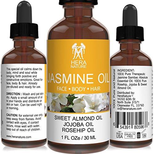 Jasmine Absolute Oil - 100% Pure - in Sweet Almond, Jojoba & Rosehip Oil - Therapeutic Grade - 30ml (1oz)