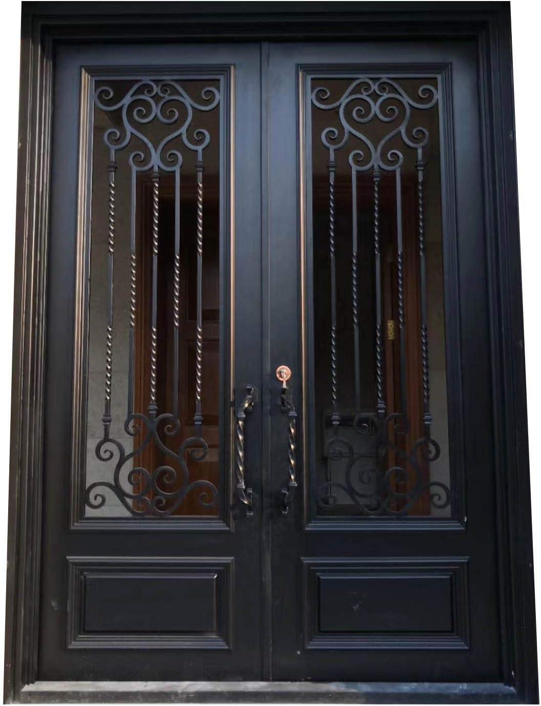 Puertas de hierro forjado doble exterior entrada frontal doble hierro forjado puerta de cristal: Amazon.es: Bricolaje y herramientas
