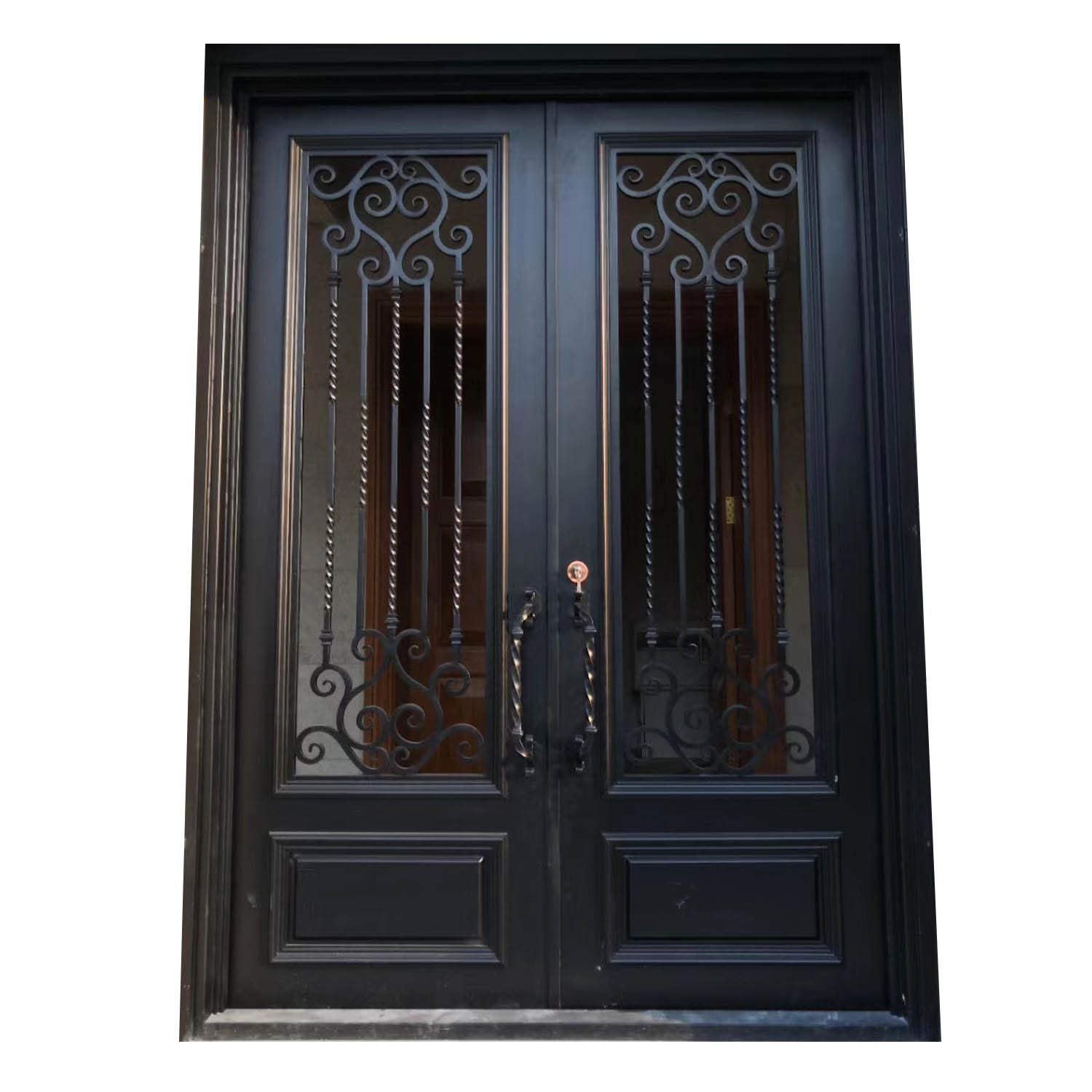 Wrought Iron Doors Double Exterior Front Entry Double