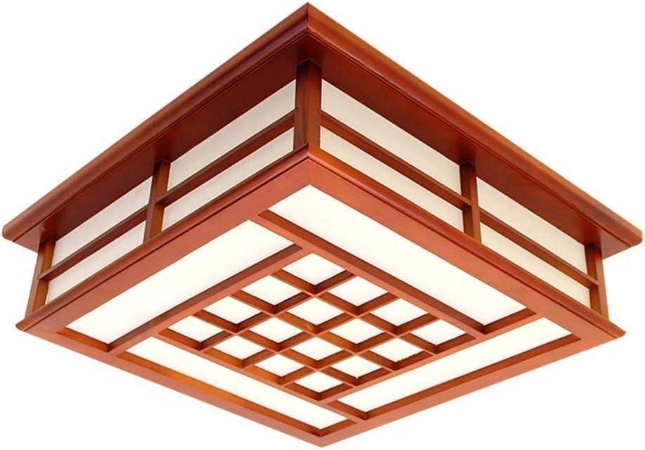 Luz de techo LED Sala de estar Iluminación Cuadrado Madera maciza Antiguo Nogal Color Dormitorio Lámpara Estudio Lámpara (Size : S): Amazon.es: Iluminación