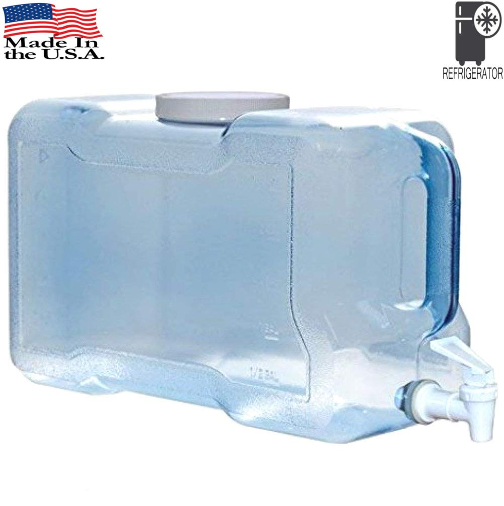 LavoHome BPA-Free Refrigerator Water Dispenser 3 Gallon Reusable Plastic Bottle Jug Container - [ Made in USA ]