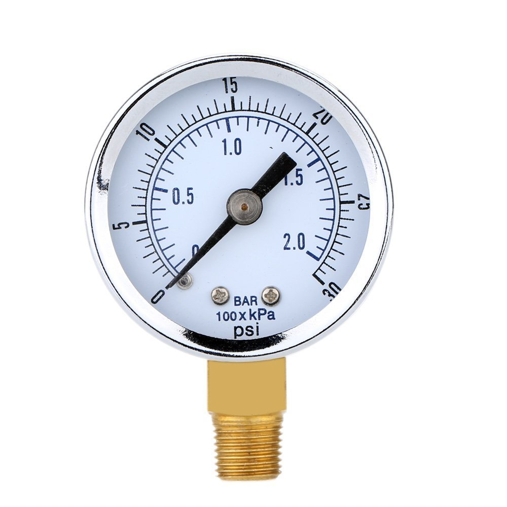 Pressure Gauge - SODIAL(R)Pressure Gauge - 0 ~ 30 psi 0 ~ 2 bar Mini Dial gauge compressor meters hydraulic pressure gauge Gage double scale Black