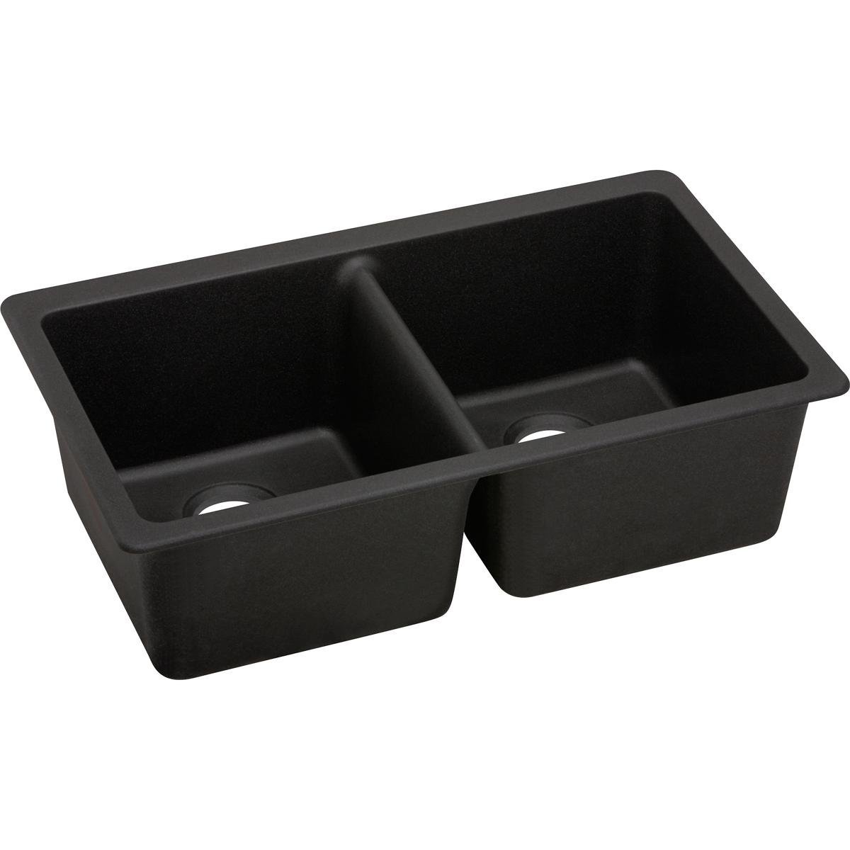 Elkay Quartz Luxe ELXU3322CA0 Caviar Equal Double Bowl Undermount Sink
