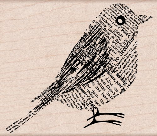 Hero Arts Woodblock Stamp, Newsprint Bird