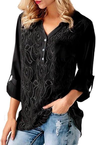 Fossen Mujer Encaje Blusas de Manga Larga Cordón Casual Gasa Camiseta Camisa Tops: Amazon.es: Ropa y accesorios