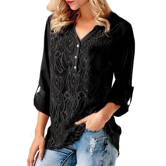 Fossen Mujer Encaje Blusas de Manga Larga Cordón Casual Gasa Camiseta Camisa Tops (S,