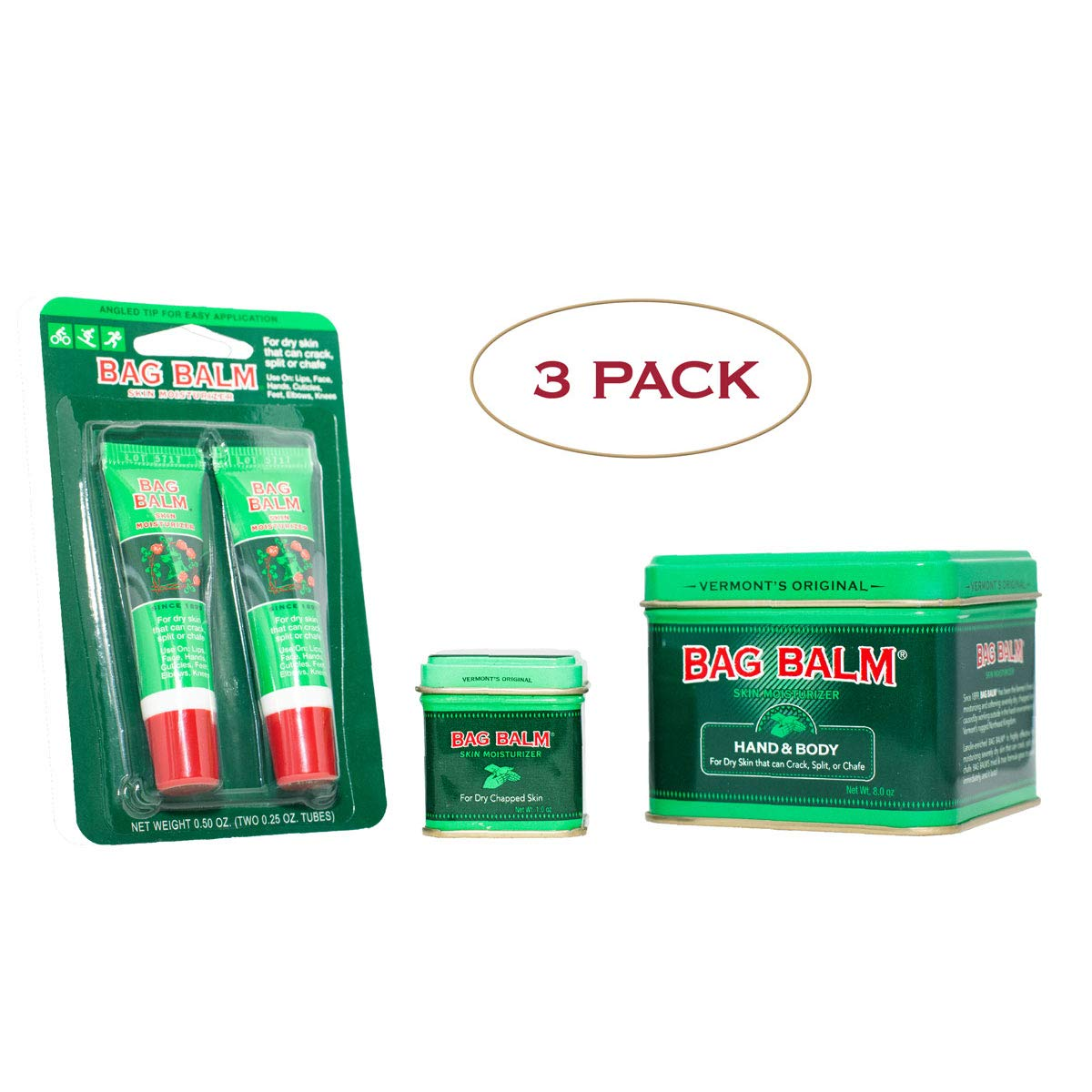 Vermont's Original Bag Balm 3 Pack Bundle for Dry, Cracked Skin, Hands, Lips, 8 Ounce Tin, 1 Ounce Tin, 2 Pack Lip Balm On-The-Go Tubes by Bag Balm