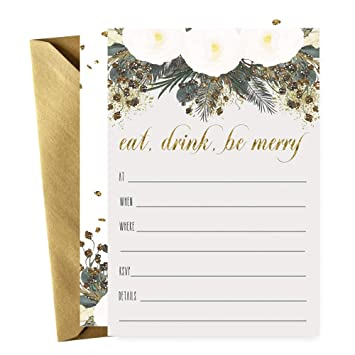 Bronze Floral Christmas Party Invitations With Gold Envelopes Set Of 15 Cards