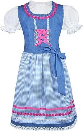 Isar-Trachten Luana - Vestido de Tirolesa para niña, Color Azul y ...