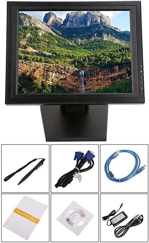 002fr 17 pulgadas LED POS TFT LCD monitor de pantalla táctil 1024X768 para minoristas restaurantes bar negro enchufe AU 17 pulgadas: Amazon.es: Hogar