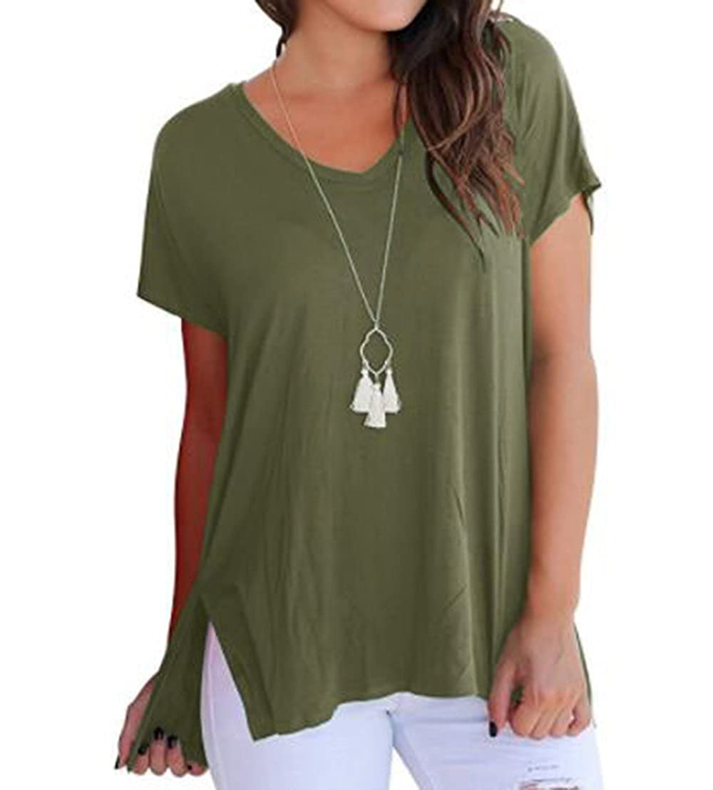 Agreen FISOUL Women Tops Short Sleeve V Neck Tee Loose Fit Shirt Casual Basic Side Slits Shirts