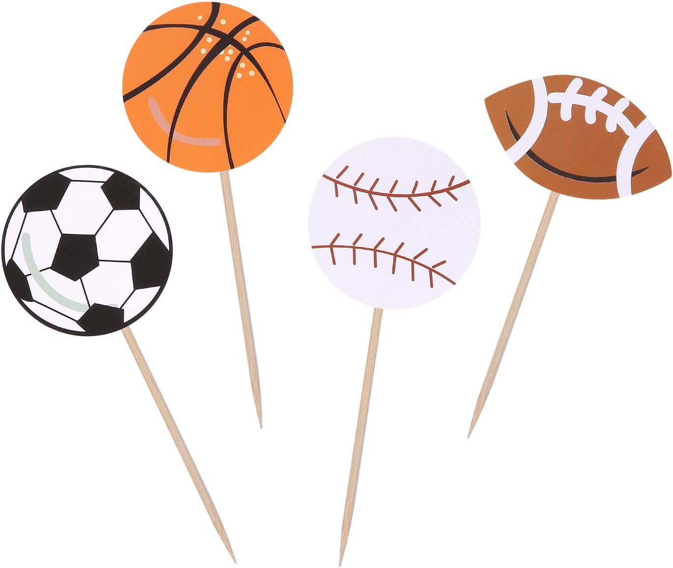 All Star Sports Cupcake Toppers Boy Birthday Party Decor Football/Baseball/Basketball/Rugby Decoration Picks - Set of 24
