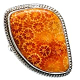 Huge Fossil Coral Ring Size 8.75 (925 Sterling Silver) - Handmade Jewelry RING870954