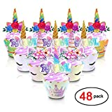 Konsait Unicorn Cupcake Topper and Wrappers Kits(48pack),Unicorn Cupcake Topper Horn and Ears Magical Rainbow Cake Decoration for Kids Girls Great Unicorn Themed Birthday Party Favors Supplies