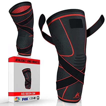 33399058762 Athledict Knee Brace Compression Sleeve with Strap for Best Support   Pain  Relief for Meniscus Tear